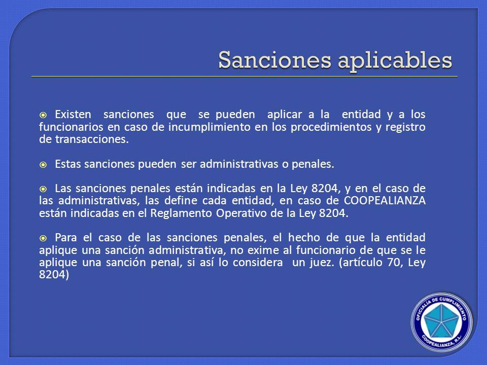 Sanciones aplicables