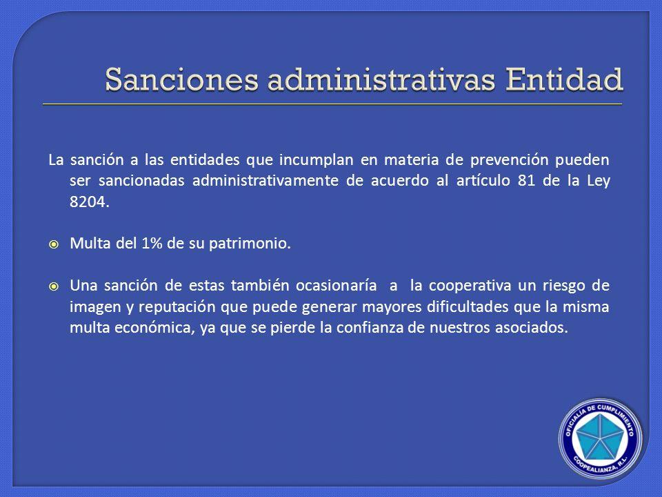 Sanciones administrativas Entidad
