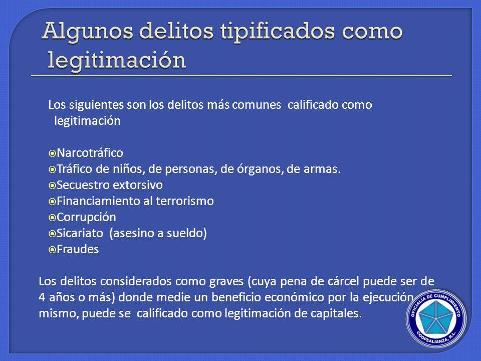 Algunos delitos tipificados como legitimación