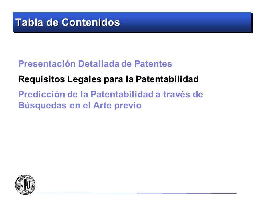 Tabla de Contenidos Presentación Detallada de Patentes