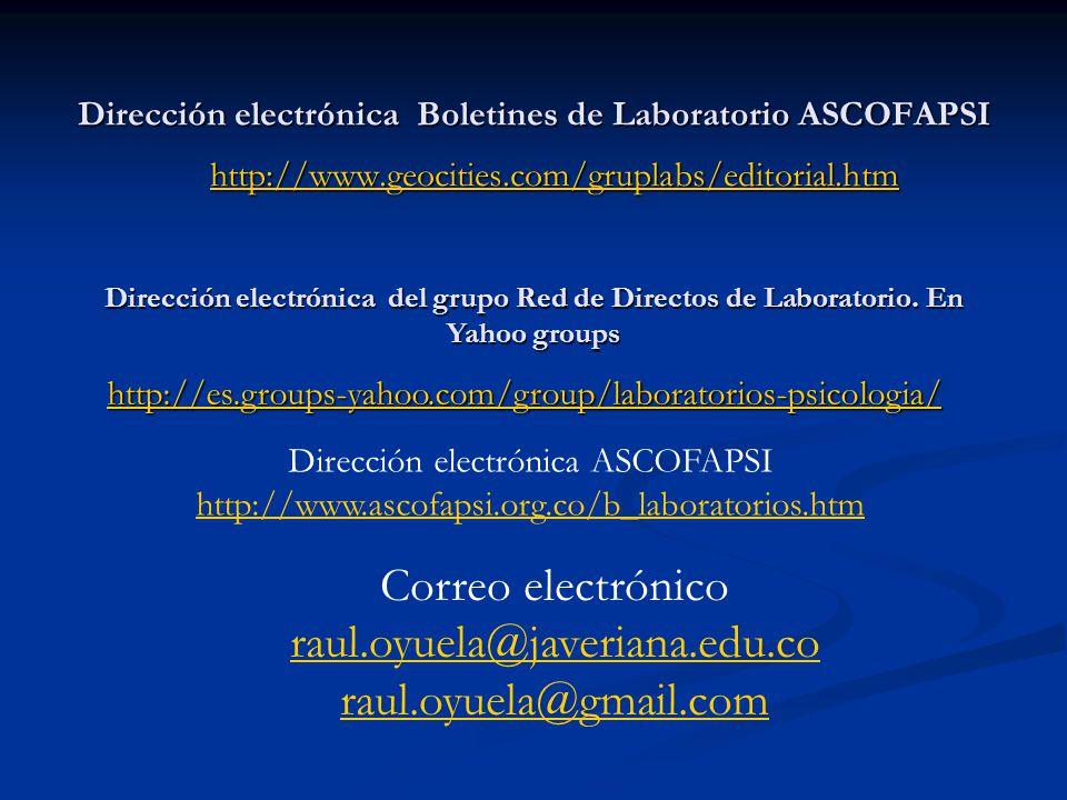 Dirección electrónica Boletines de Laboratorio ASCOFAPSI