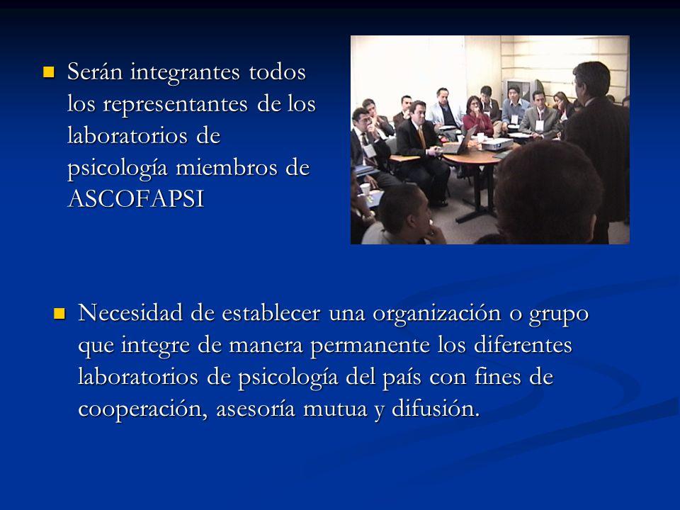 Serán integrantes todos los representantes de los laboratorios de psicología miembros de ASCOFAPSI