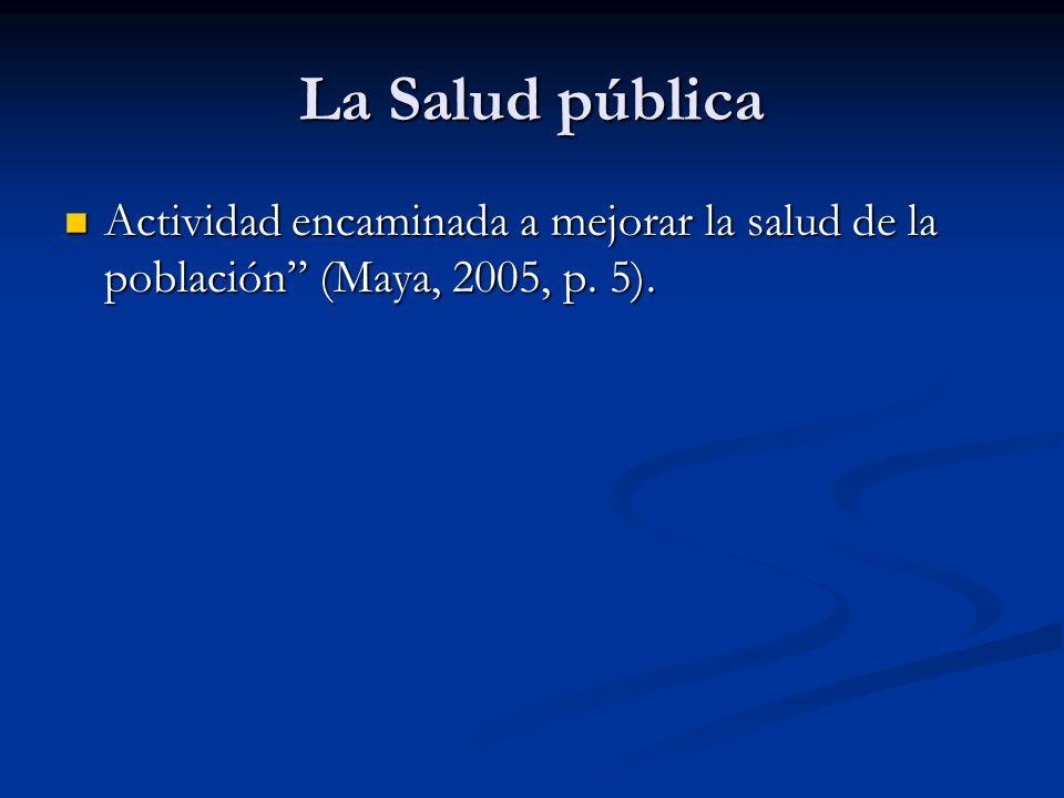 La Salud pública Actividad encaminada a mejorar la salud de la población (Maya, 2005, p. 5).
