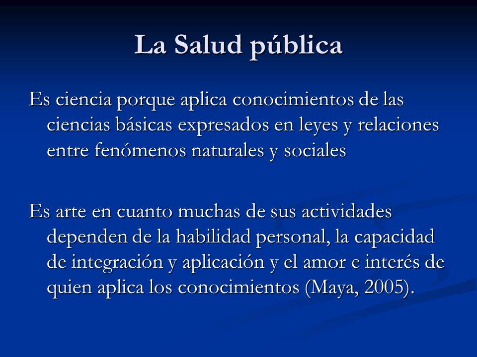 La Salud pública Es ciencia porque aplica conocimientos de las ciencias básicas expresados en leyes y relaciones entre fenómenos naturales y sociales.