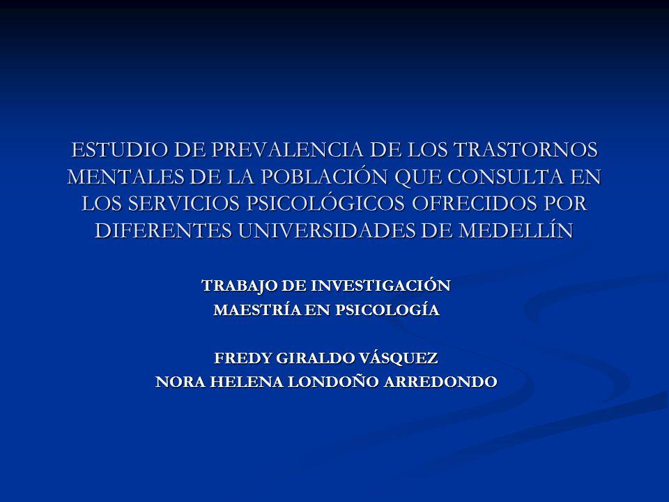 ESTUDIO DE PREVALENCIA DE LOS TRASTORNOS MENTALES DE LA POBLACIÓN QUE CONSULTA EN LOS SERVICIOS PSICOLÓGICOS OFRECIDOS POR DIFERENTES UNIVERSIDADES DE MEDELLÍN