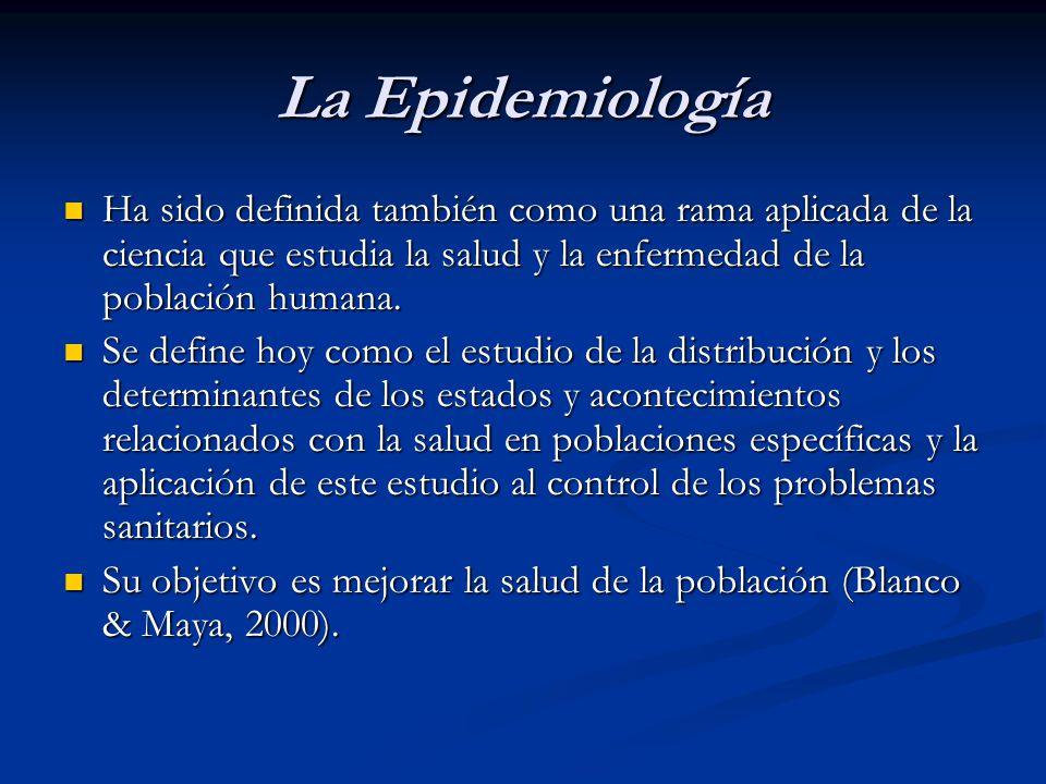 La Epidemiología Ha sido definida también como una rama aplicada de la ciencia que estudia la salud y la enfermedad de la población humana.