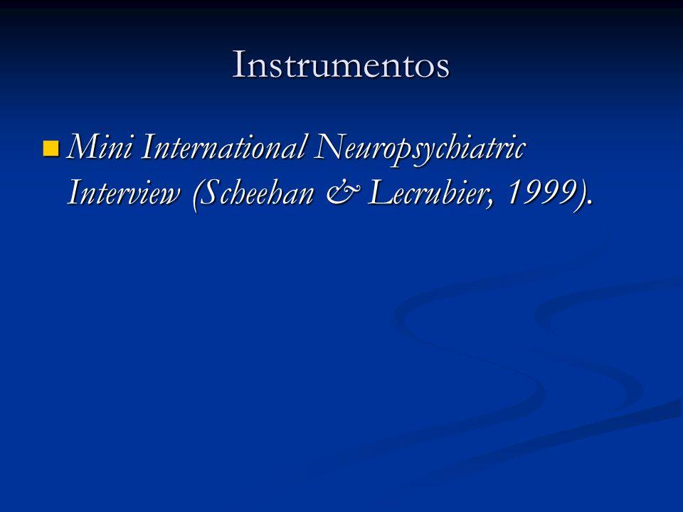 Instrumentos Mini International Neuropsychiatric Interview (Scheehan & Lecrubier, 1999).