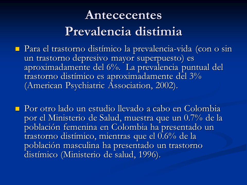 Antececentes Prevalencia distimia