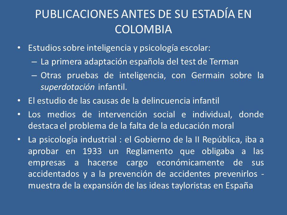 PUBLICACIONES ANTES DE SU ESTADÍA EN COLOMBIA
