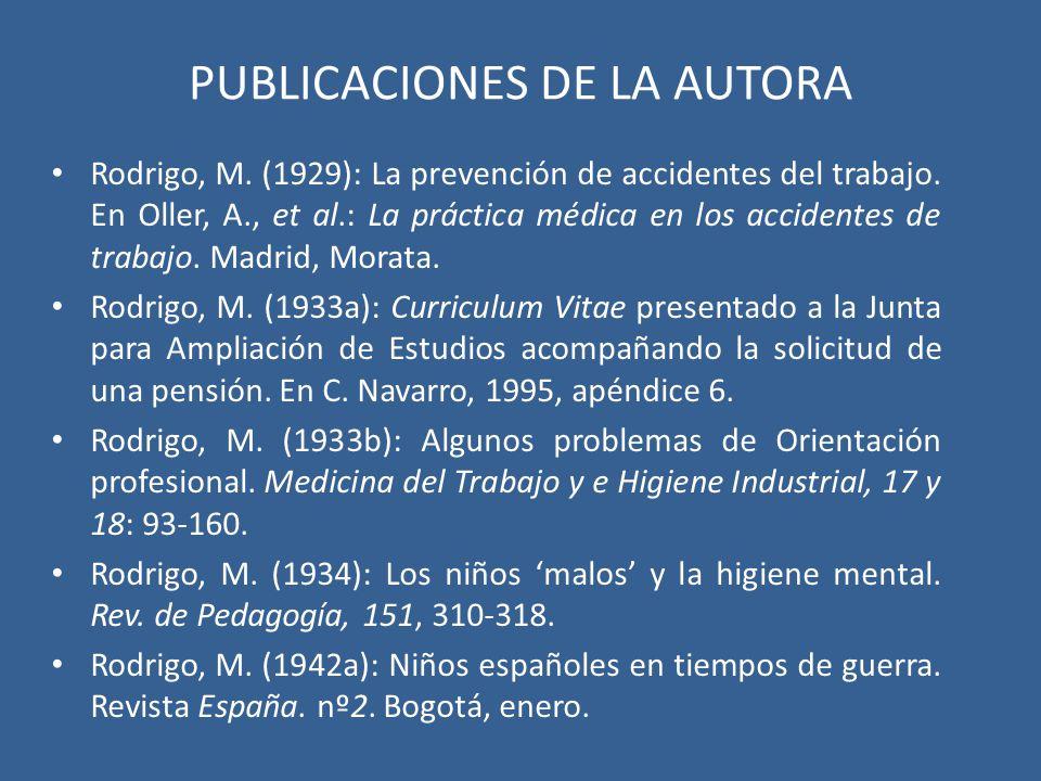 PUBLICACIONES DE LA AUTORA