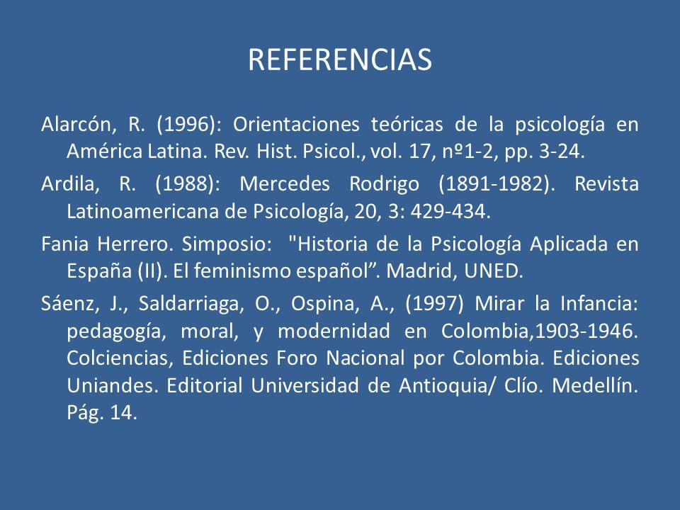 REFERENCIAS Alarcón, R. (1996): Orientaciones teóricas de la psicología en América Latina. Rev. Hist. Psicol., vol. 17, nº1-2, pp. 3-24.