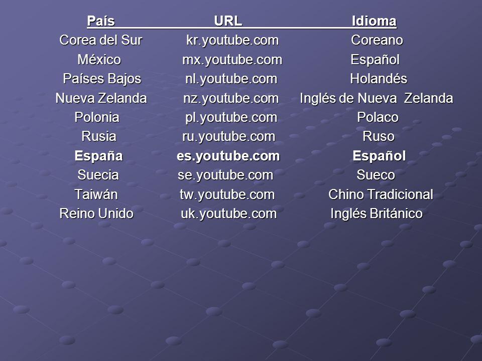 País URL Idioma Corea del Sur kr.youtube.com Coreano.