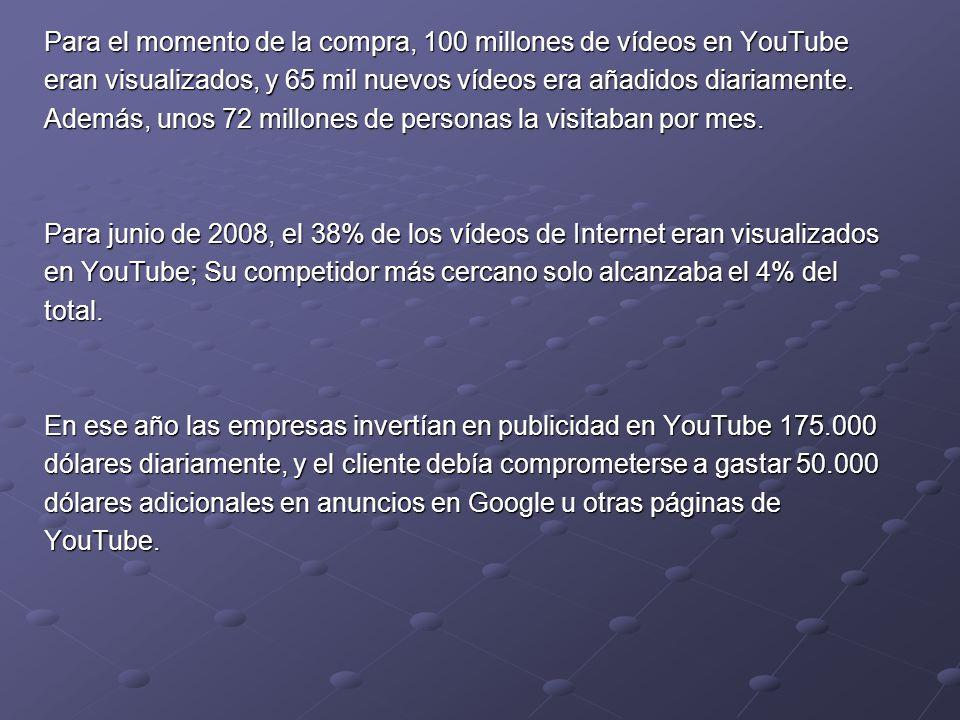 Para el momento de la compra, 100 millones de vídeos en YouTube