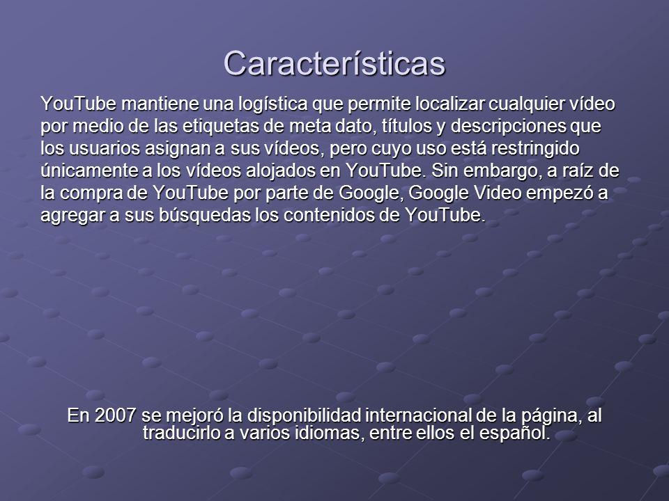 Características YouTube mantiene una logística que permite localizar cualquier vídeo.