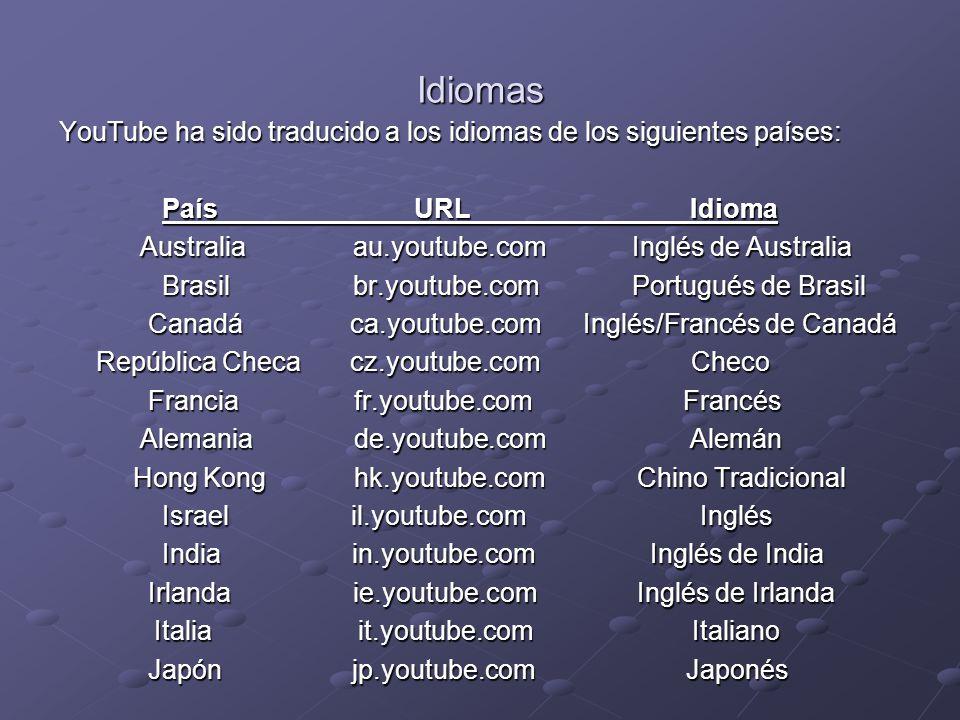 Idiomas YouTube ha sido traducido a los idiomas de los siguientes países: País URL Idioma.