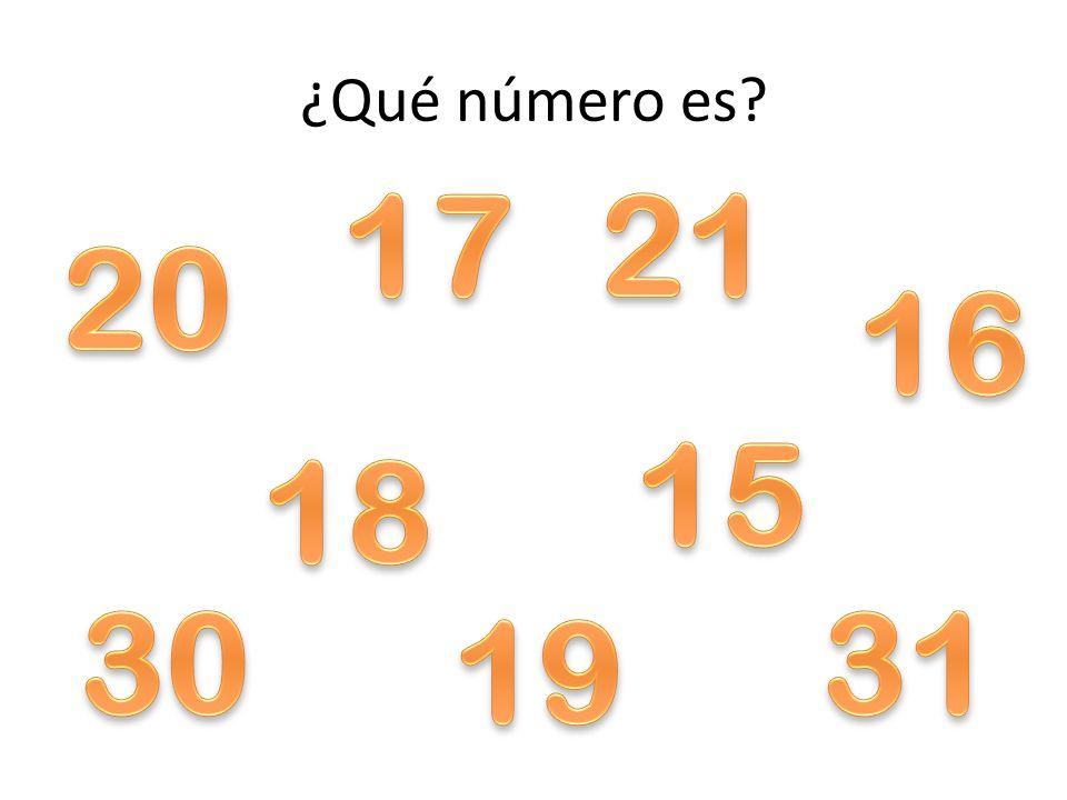 ¿Qué número es 17 21 20 16 15 18 30 31 19