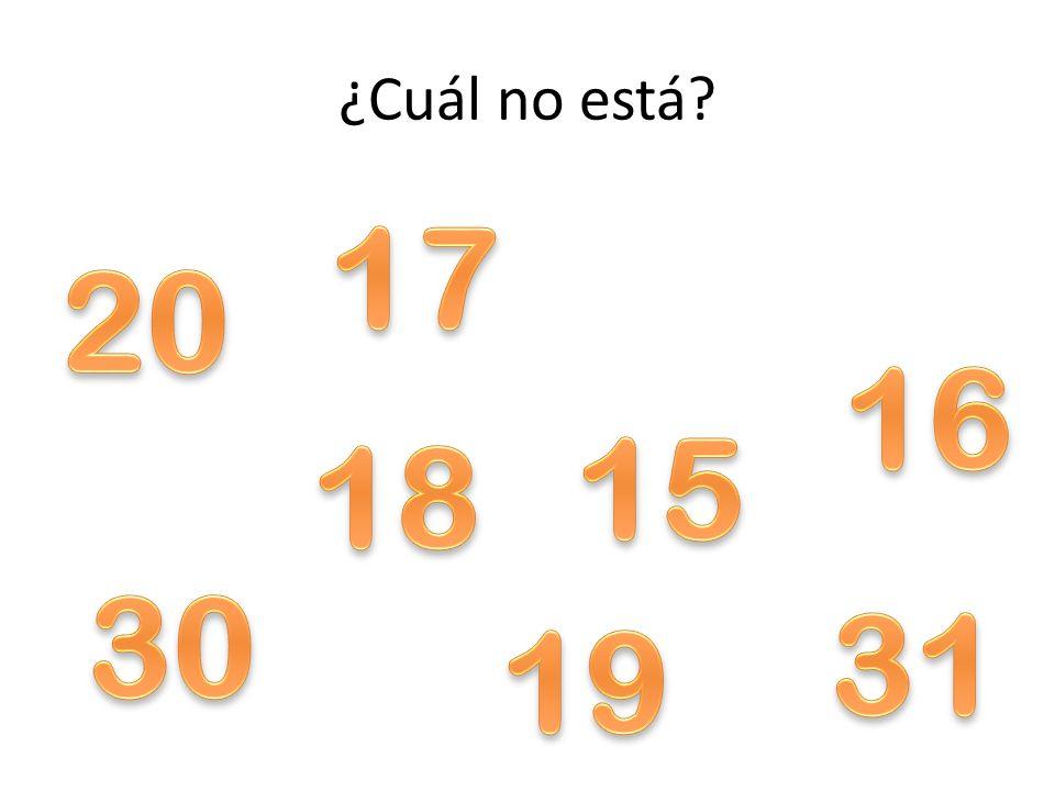 ¿Cuál no está 17 20 16 15 18 30 31 19