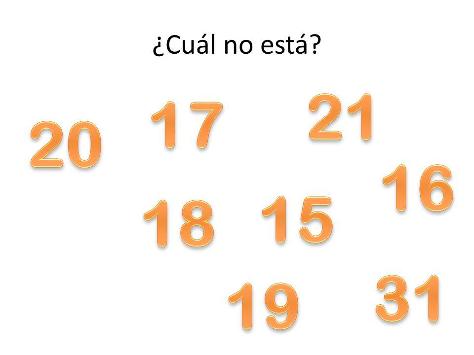 ¿Cuál no está 21 17 20 16 15 18 31 19