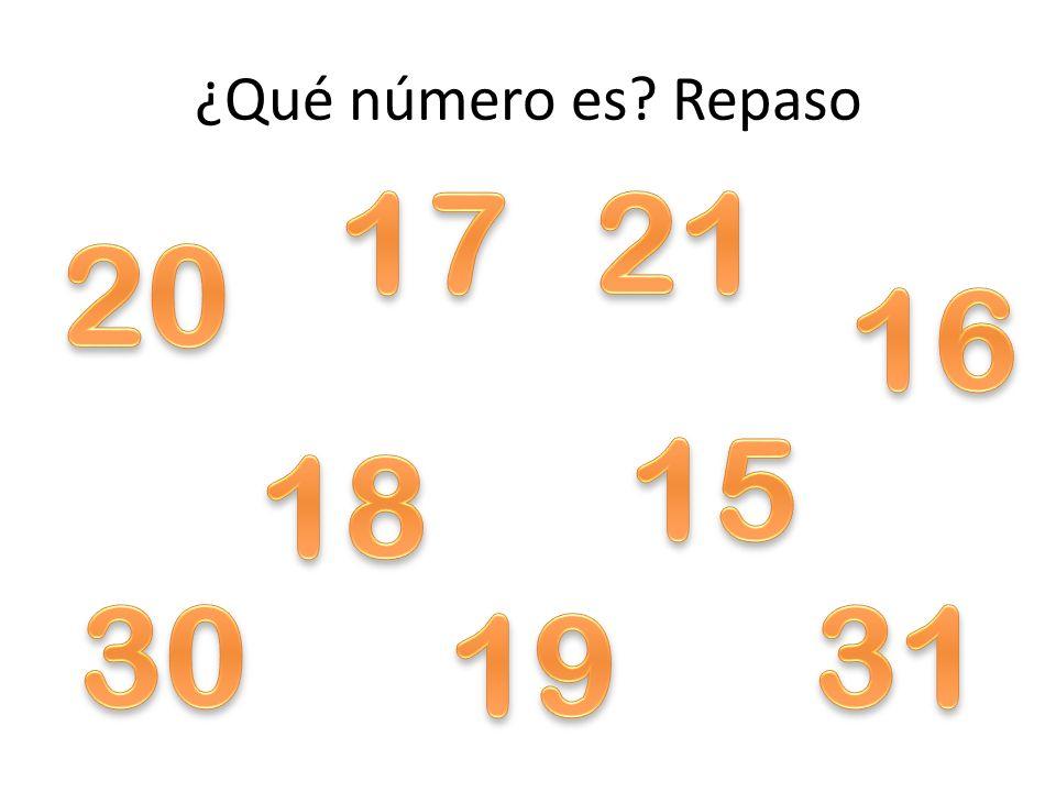 ¿Qué número es Repaso 17 21 20 16 15 18 30 31 19