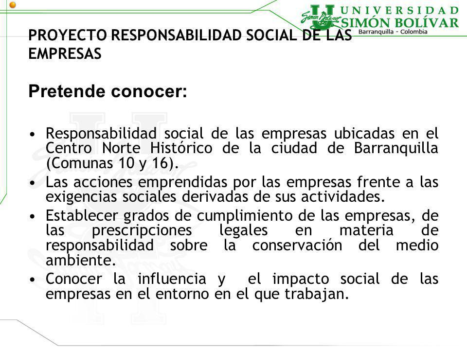 PROYECTO RESPONSABILIDAD SOCIAL DE LAS EMPRESAS