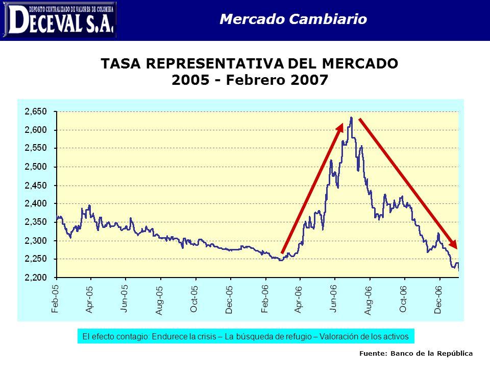 TASA REPRESENTATIVA DEL MERCADO 2005 - Febrero 2007