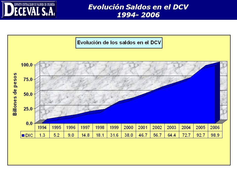 Evolución Saldos en el DCV 1994- 2006