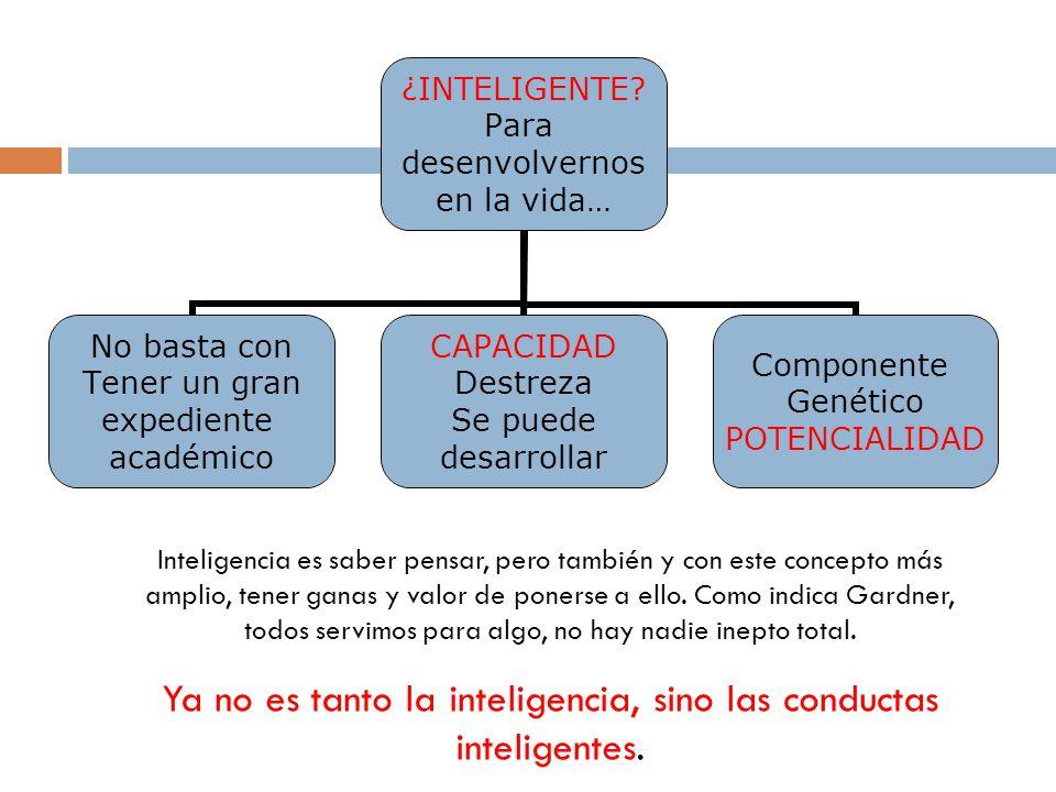 Ya no es tanto la inteligencia, sino las conductas inteligentes.