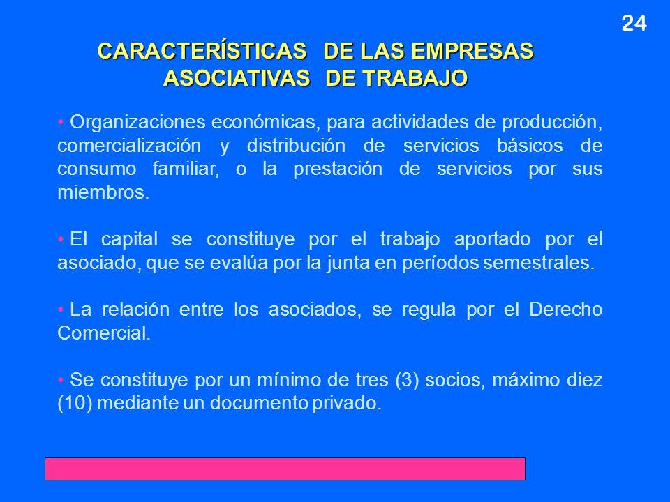 CARACTERÍSTICAS DE LAS EMPRESAS ASOCIATIVAS DE TRABAJO