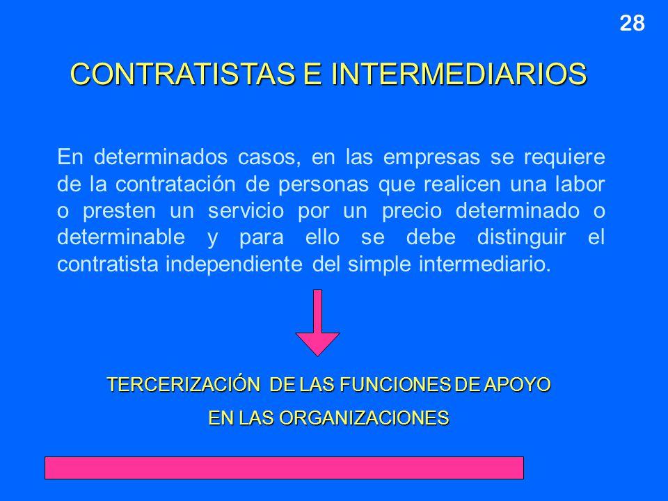 CONTRATISTAS E INTERMEDIARIOS