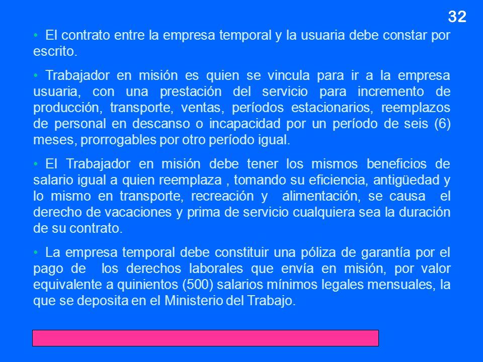 01/04/2017 32. El contrato entre la empresa temporal y la usuaria debe constar por escrito.