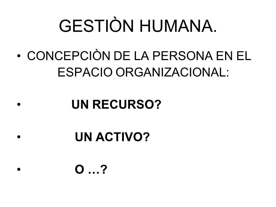 GESTIÒN HUMANA. CONCEPCIÒN DE LA PERSONA EN EL ESPACIO ORGANIZACIONAL: