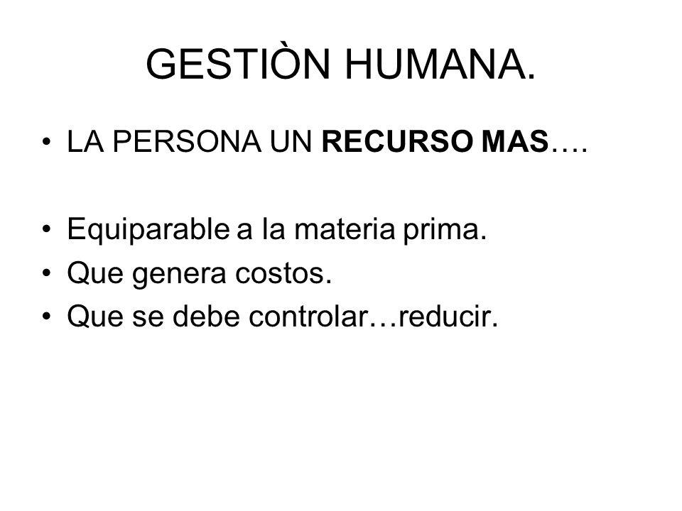 GESTIÒN HUMANA. LA PERSONA UN RECURSO MAS….