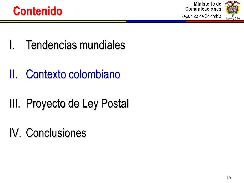 Contenido Tendencias mundiales Contexto colombiano Proyecto de Ley Postal Conclusiones