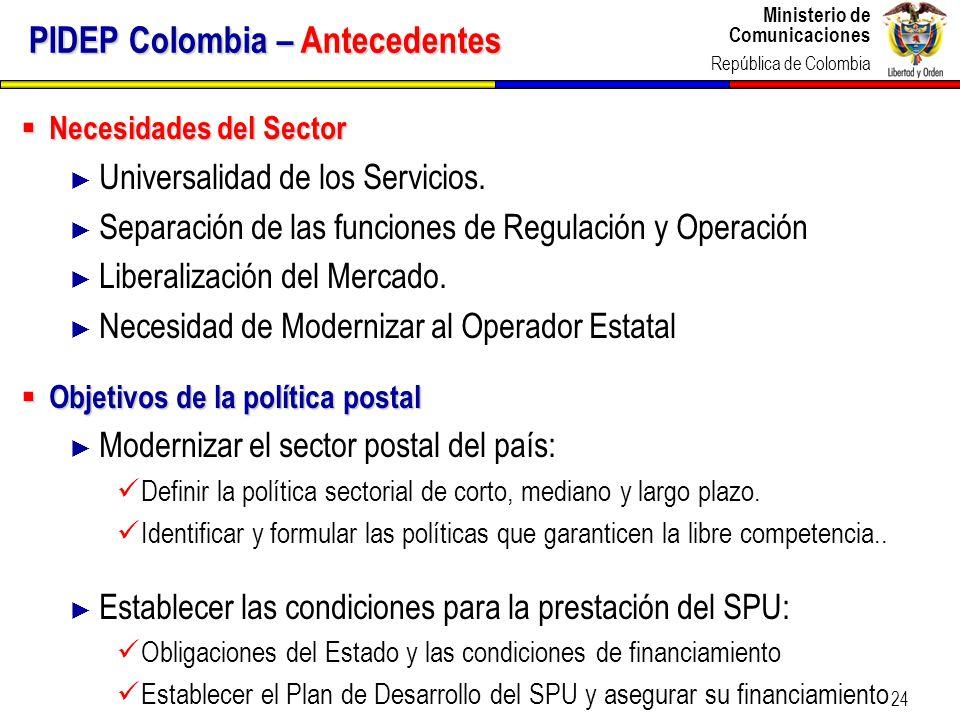 PIDEP Colombia – Antecedentes