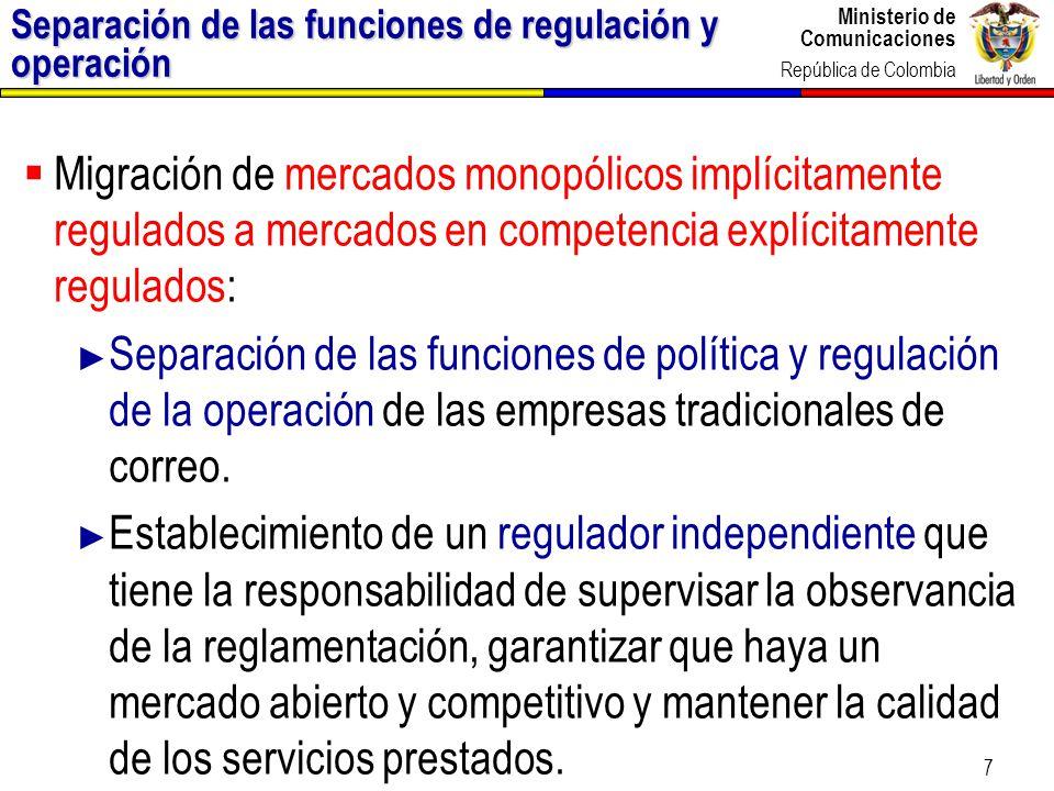 Separación de las funciones de regulación y operación