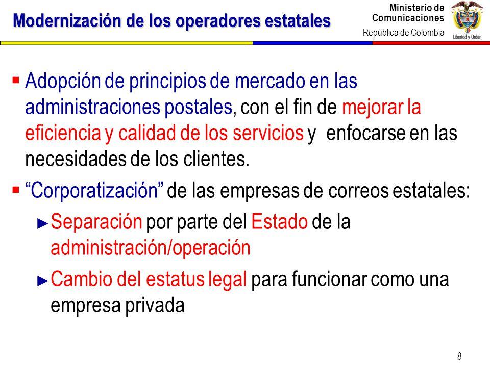 Modernización de los operadores estatales