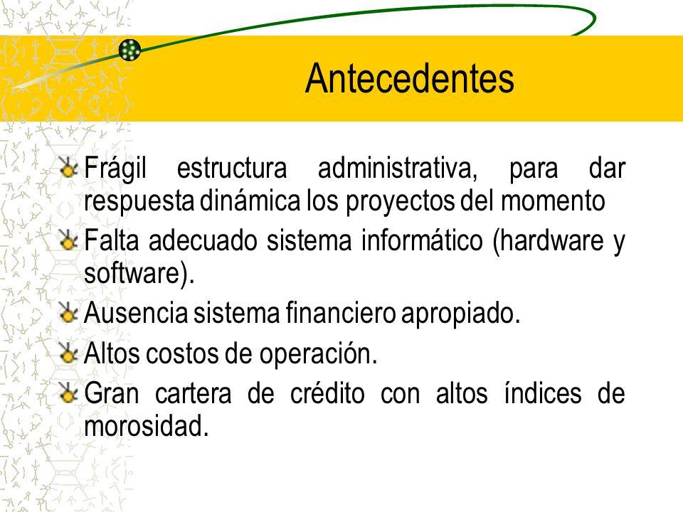 Antecedentes Frágil estructura administrativa, para dar respuesta dinámica los proyectos del momento.