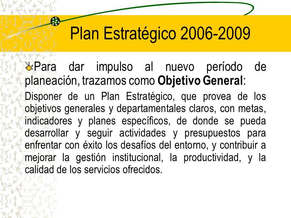 Plan Estratégico 2006-2009 Para dar impulso al nuevo período de planeación, trazamos como Objetivo General: