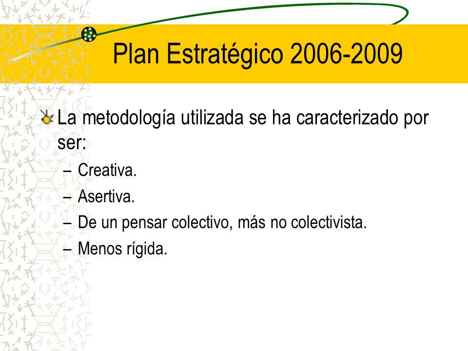 Plan Estratégico 2006-2009 La metodología utilizada se ha caracterizado por ser: Creativa. Asertiva.