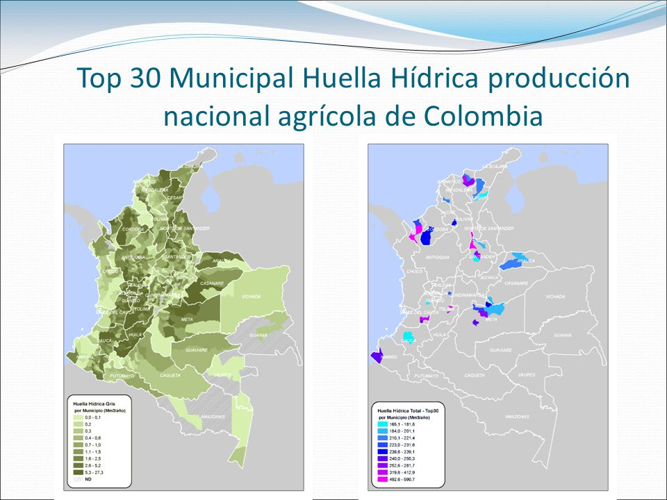Top 30 Municipal Huella Hídrica producción nacional agrícola de Colombia