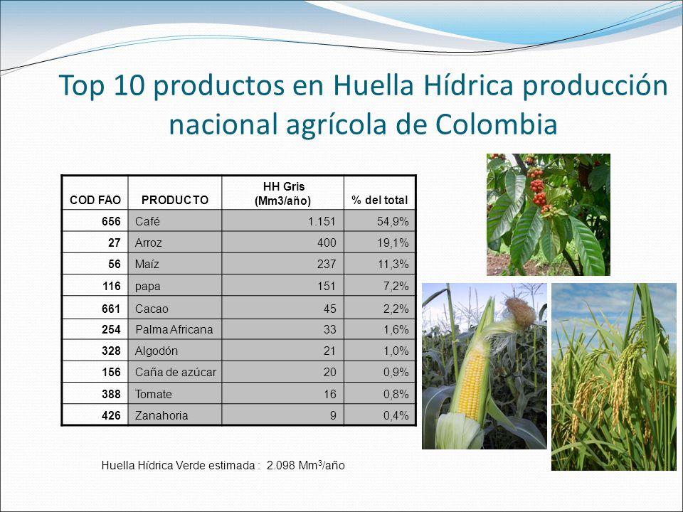 Top 10 productos en Huella Hídrica producción nacional agrícola de Colombia
