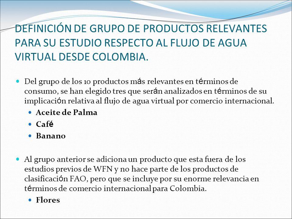 DEFINICIÓN DE GRUPO DE PRODUCTOS RELEVANTES PARA SU ESTUDIO RESPECTO AL FLUJO DE AGUA VIRTUAL DESDE COLOMBIA.