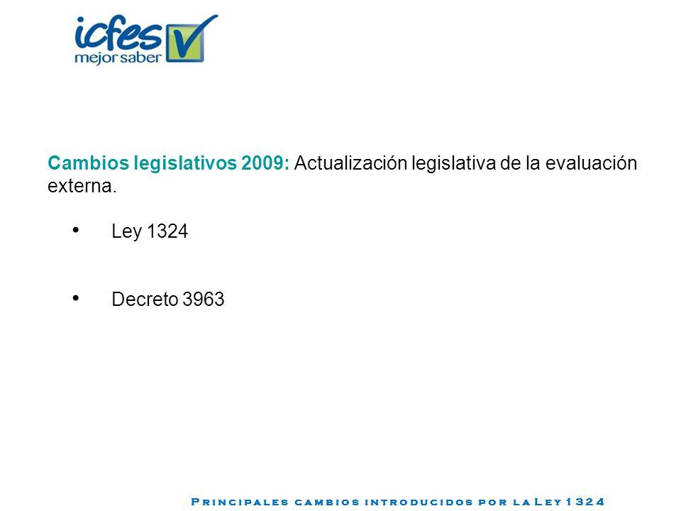 Cambios legislativos 2009: Actualización legislativa de la evaluación externa.