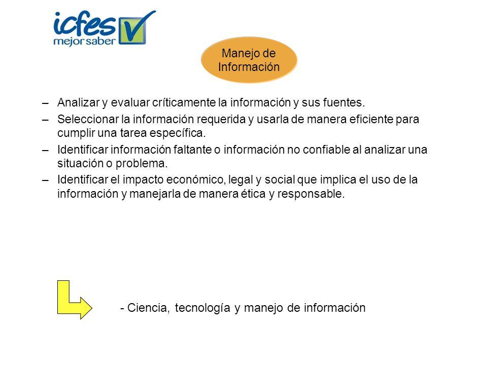 - Ciencia, tecnología y manejo de información