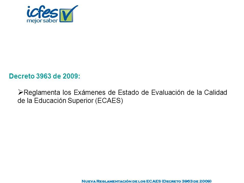 Nueva Reglamentación de los ECAES (Decreto 3963 de 2009)