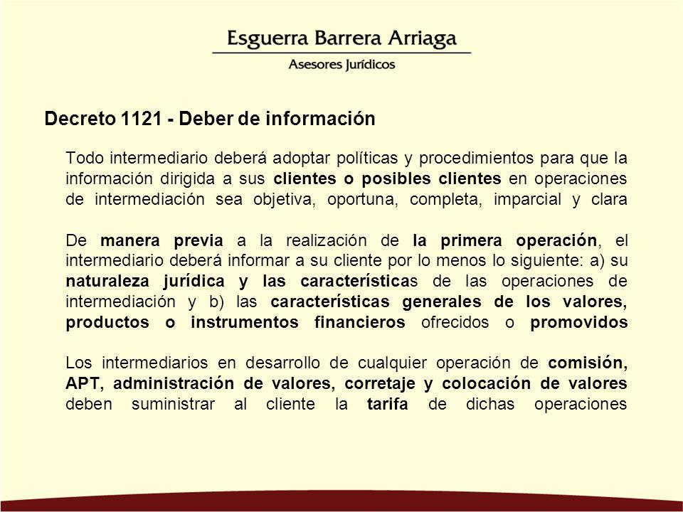 Decreto 1121 - Deber de información