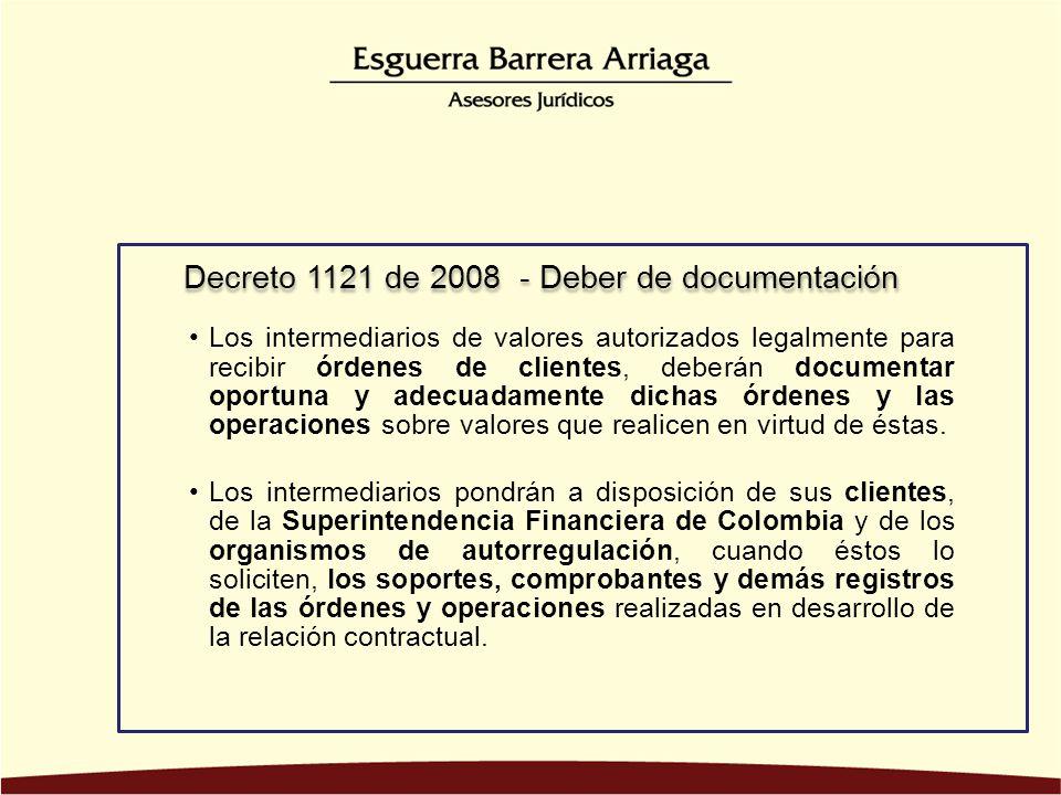 Decreto 1121 de 2008 - Deber de documentación