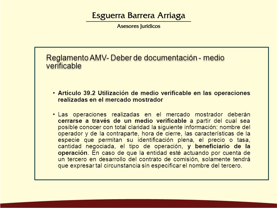 Reglamento AMV- Deber de documentación - medio verificable