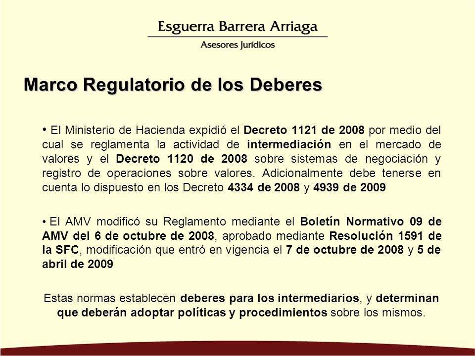 Marco Regulatorio de los Deberes