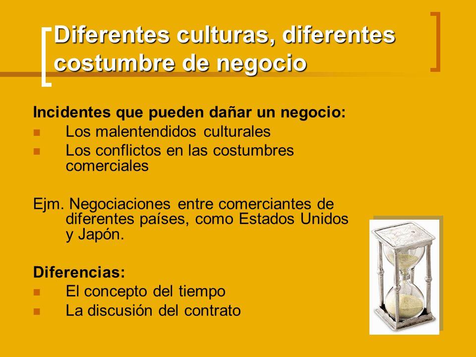 Diferentes culturas, diferentes costumbre de negocio